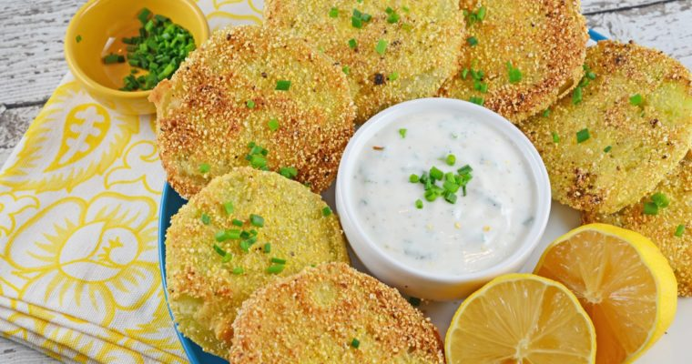 Fried green tomatoes with hot and sweet aioli
