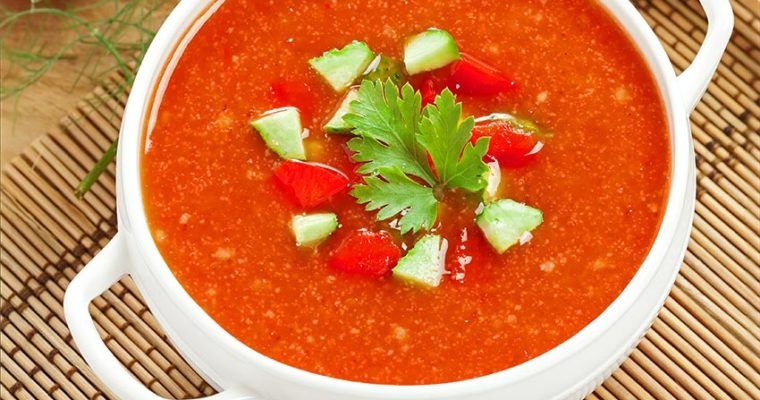 Fast and fresh heirloom tomato gazpacho